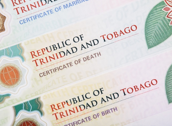 Republic of Trinidad and Tobago Certifcate of Death, Marriage and Birth layered on top of each other